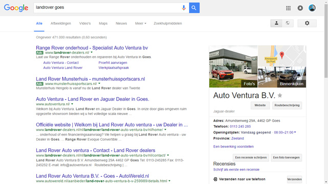 Auto Ventura Goes op Google Maps Street View
